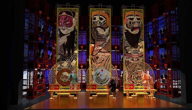 Maquete digital do cenário realizado por Renato Theobaldo para Turandot, de puccini, apresentado no Theatro Municipal de São Paulo [Divulgação]